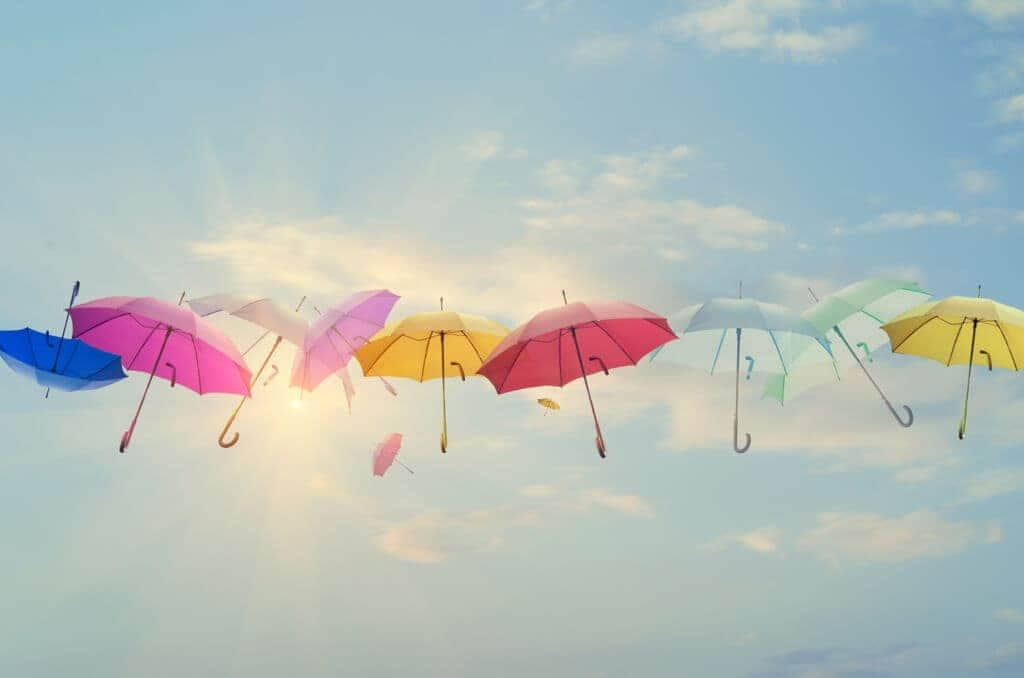 Umbrellas line-up across the sky